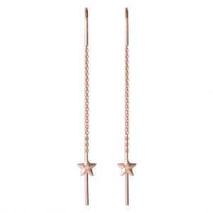 Aurora Thread Through Earrings In Rose Gold