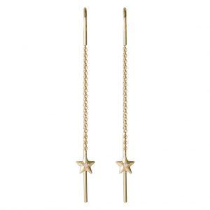 Aurora Thread Through Earrings In Yellow Gold