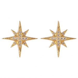 Celeste Star Earrings In Yellow Gold