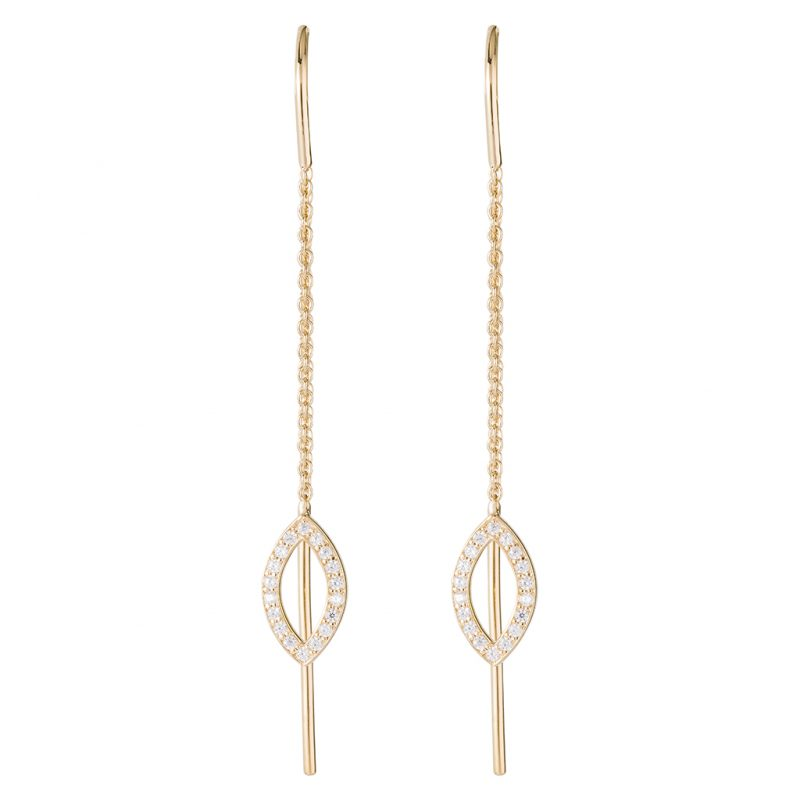Dubai Thread-Through Earrings In Yellow Gold