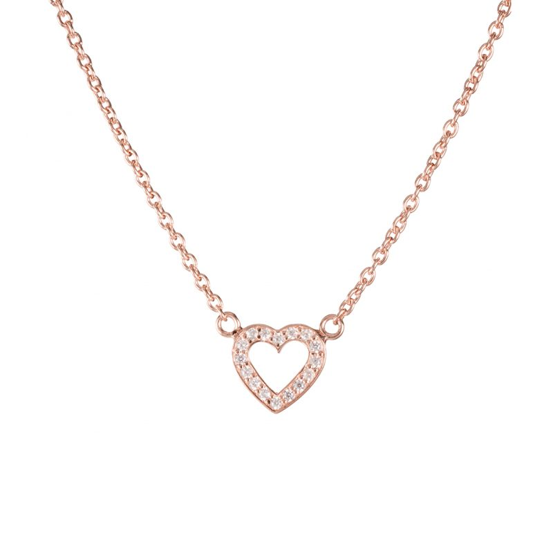 Paris Heart Necklace In Rose Gold