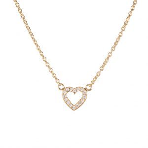 Paris Heart Necklace In Yellow Gold