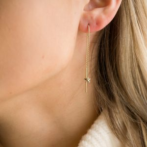 The Aurora Thread-Through Earrings In Yellow Gold