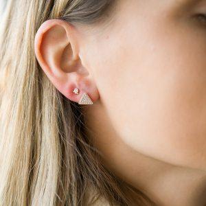 The Austin Triangle Earrings & Kalinda Earring In Rose Gold