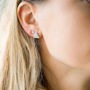 The Austin Triangle Earrings & Kalinda Earring In Sterling Silver