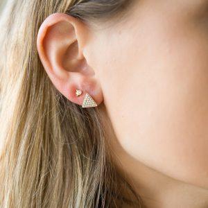 The Austin Triangle Earrings & Kalinda Earring In Yellow Gold
