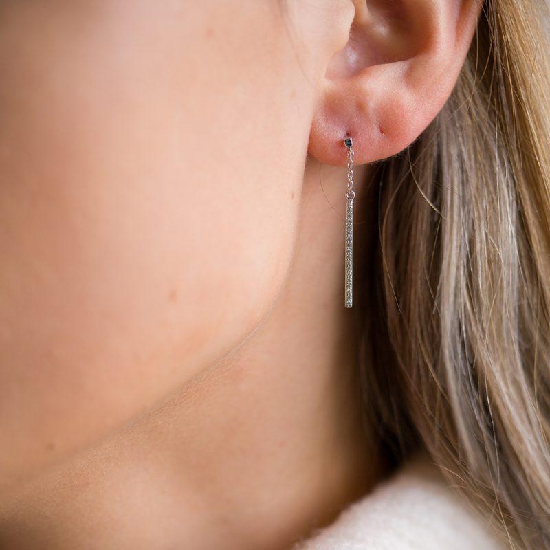 The Brooklyn Drop Earrings In Sterling Silver