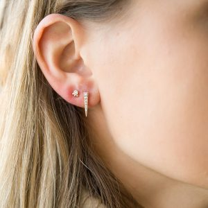 The Camden Triangle Earrings & Kalinda Earring In Rose Gold