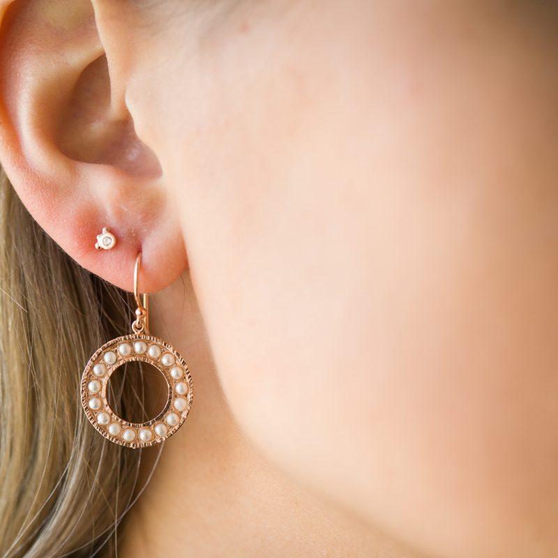 The Cara Pearl Earrings & Kalinda Earring In Rose Gold