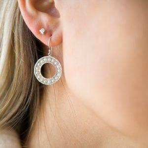 The Cara Pearl Earrings & Kalinda Earring In Sterling Silver