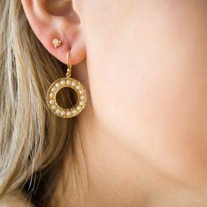 The Cara Pearl Earrings & Kalinda Earring In Yellow Gold