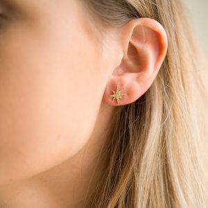 The Celeste Star Earrings In Yellow Gold