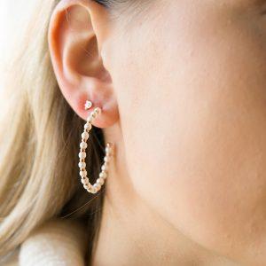 The Lizzie Pearl Hoops & Kalinda Earring In Rose Gold