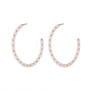 The Lizzie Pearl Hoops In Rose Gold