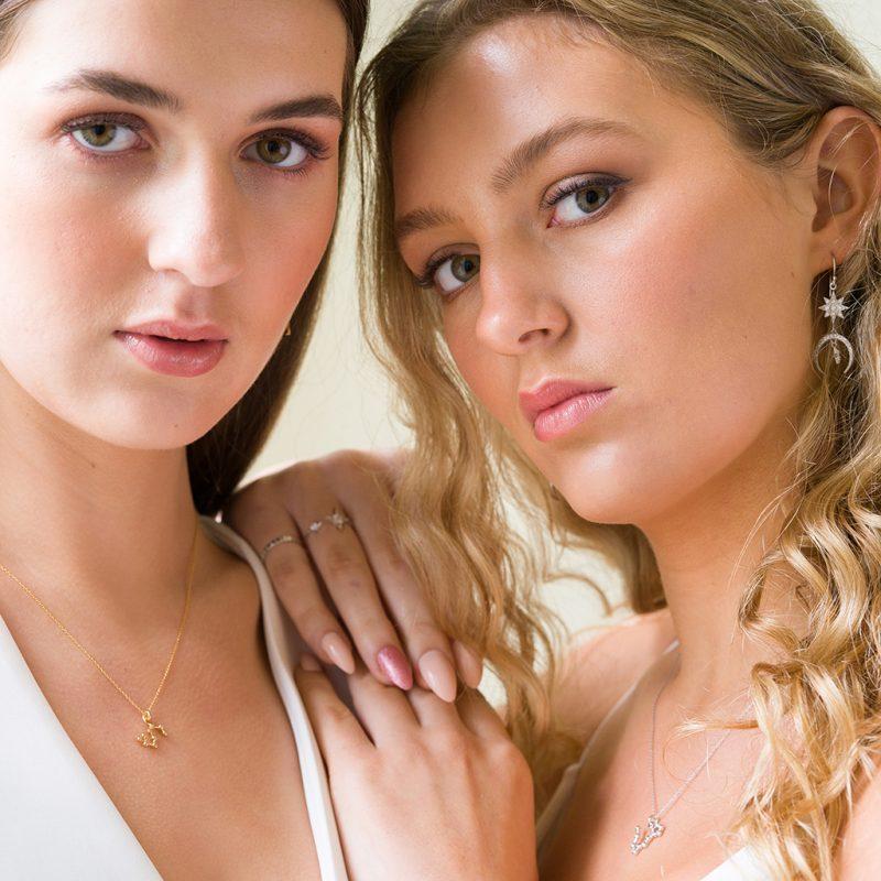 The Luna Earrings, Zodiac Necklace