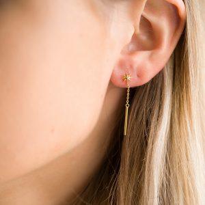 The Lyra Drop Earrings In Yellow Gold