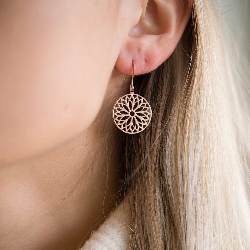 The Mandala Earrings In Rose Gold
