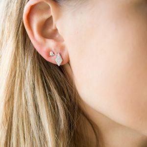 The Mumbai Diamond Earrings & Kalinda Earring In Sterling Silver