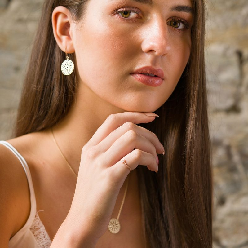 The Odessa Ring, The Mandala Earrings & The Mandala Necklace