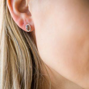 The Oslo Oval Earrings In Sterling Silver & Smoky Quartz