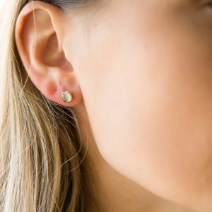 The Oslo Square Earrings In Yellow Gold & Green Amethyst