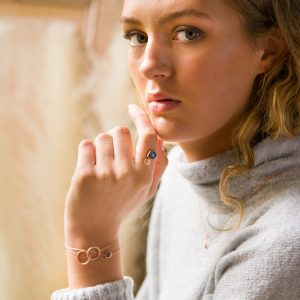 The Oslo Thread-Through Earrings, The Fjord Ring, The Oslo Bracelet In Smoky Quartz & The Bruges Bracelet
