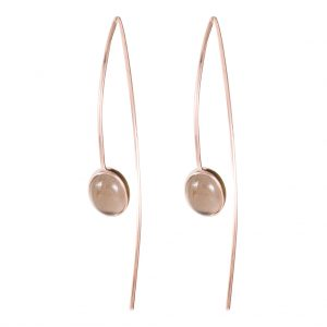 The Oslo Thread-Through Earrings In Rose Gold & Smoky Quartz
