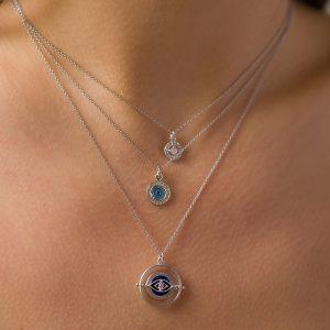 The Wayfarer Spinner Necklace, The Nazar Coin Necklace & The Nomad Necklace In Pink Moonstone
