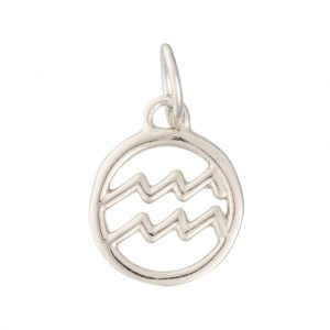 Aquarius Zodiac Charm In Sterling Silver