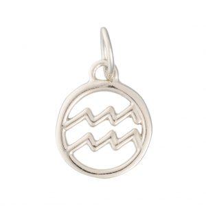 Aquarius Zodiac Charm In Sterling Silver