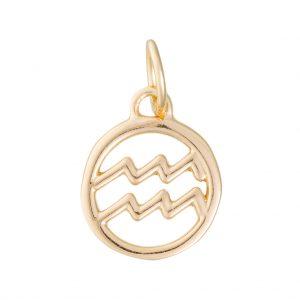 Aquarius Zodiac Charm In Yellow Gold