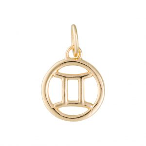Gemini Zodiac Charm In Yellow Gold