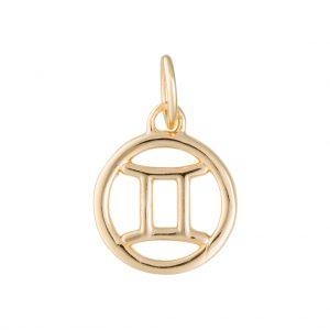 Gemini Zodiac Charm In Yellow Gold