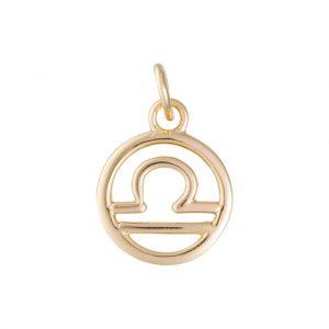Libra Zodiac Charm In Yellow Gold