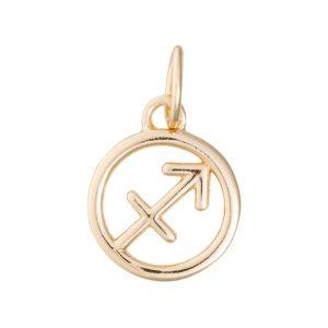 Sagittarius Zodiac Charm In Yellow Gold