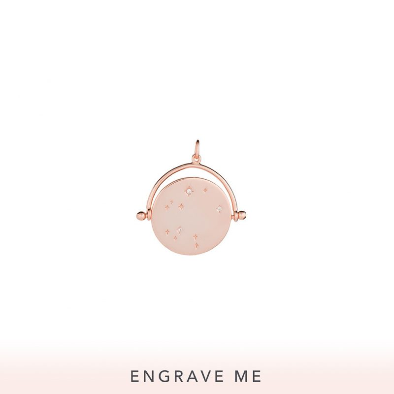 The Cosmos Spinner Charm In Rose Gold.