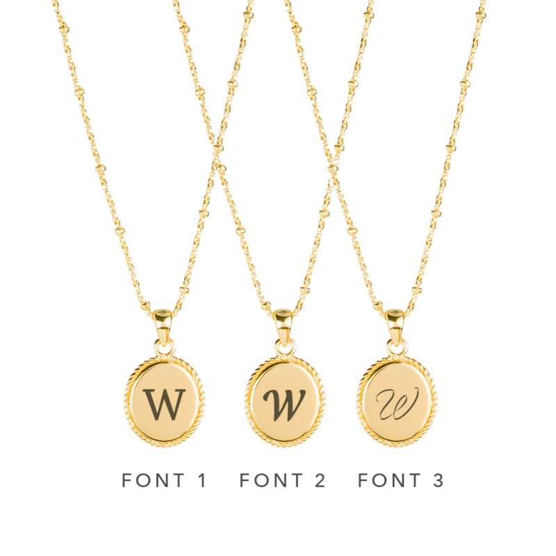 The Georgia Necklace In Yellow Gold - Engraving Options