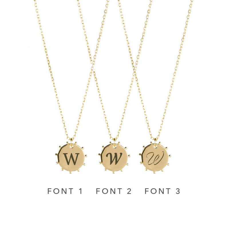 The Sunna Necklace In Yellow Gold - Engraving Options